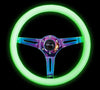 NRG ST-015MC-GL: Classic Luminor White Wood Grain Wheel NeoChrome Spoke Green Glow - Drive NRG