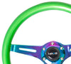 NRG ST-015MC-GN: Classic Wood Grain Wheel, 350mm, Green colored wood, 3 spoke center in Neochrome - Drive NRG