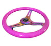 NRG ST-015MC-NPP: 350mm Neon Purple Wood Grain Wheel NeoChrome Spoke