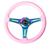 NRG ST-015MC-PK: Classic Wood Grain Wheel, 350mm, Pink colored wood, 3 spoke center in Neochrome