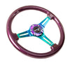 NRG ST-015MC-PP: Classic Wood Grain Wheel, 350mm, Purple colored wood, 3 spoke center in Neochrome - Drive NRG