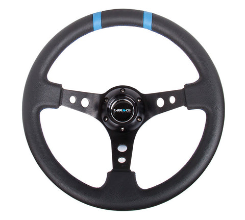 NRG ST-016R-BK: Limited Edition 350mm Sport Steering Wheel Black w/ blue double center markings