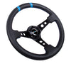 NRG ST-016R-BK: Limited Edition 350mm Sport Steering Wheel Black w/ blue double center markings - Drive NRG