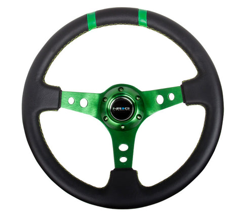 NRG RST-016R-GN: Limited Edition 350mm Sport Leather Steering Wheel Green w/ green double center markings