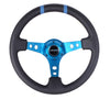 "NRG RST-016R-NB: Limited Edition 350mm Sport Steering Wheel (3"" Deep) New Blue w /blue double center markings"