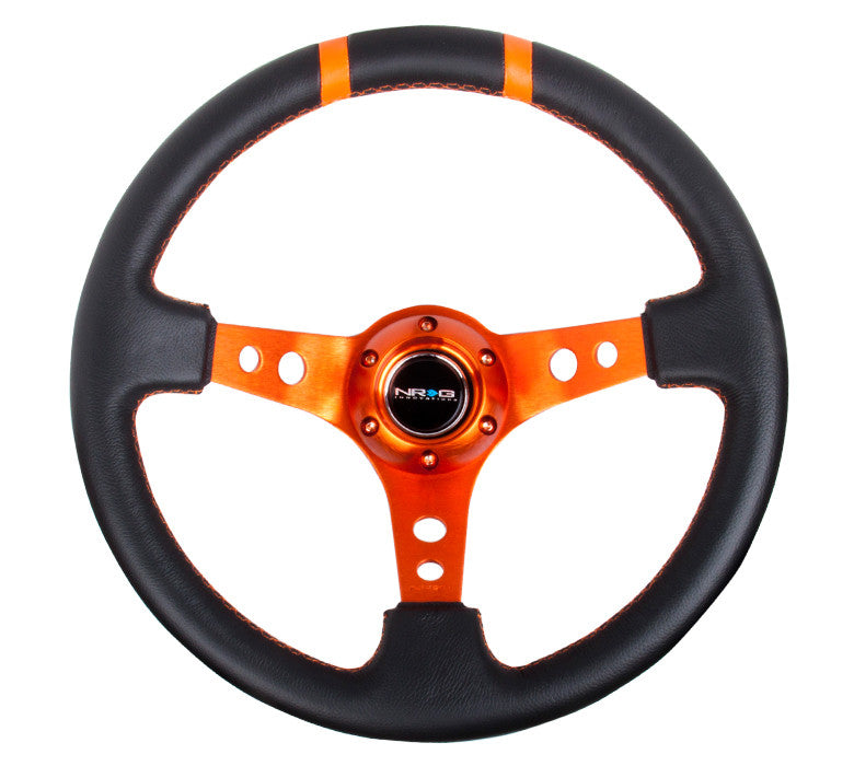 "NRG RST-016R-OR: Limited Edition 350mm Sport Steering Wheel (3"" Deep) Orange w/ orange double center markings"