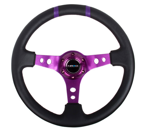 NRG RST-016R-PP: Limited Edition 350mm Sport Steering Wheel Purple w/ purple double center markings