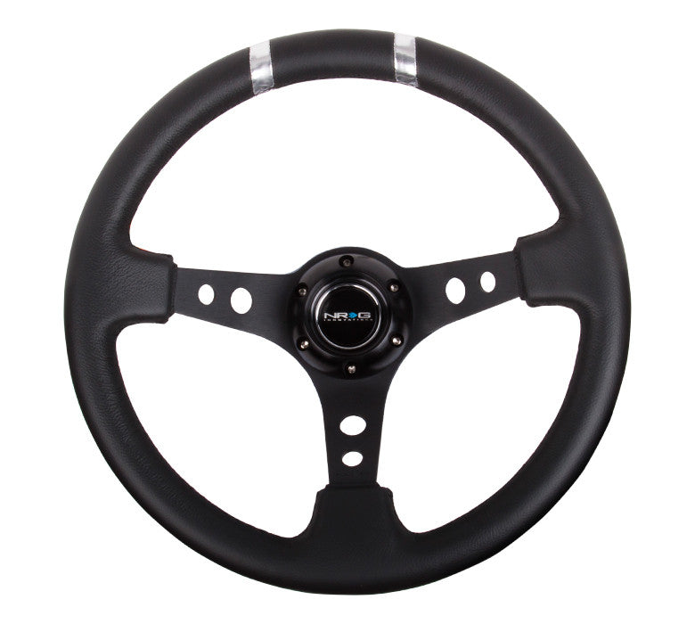 NRG ST-016R-SL: Limited Edition 350mm Sport Steering Wheel Black w/ silver double center markings - Drive NRG