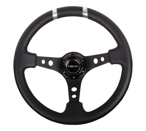 NRG ST-016R-SL: Limited Edition 350mm Sport Steering Wheel Black w/ silver double center markings