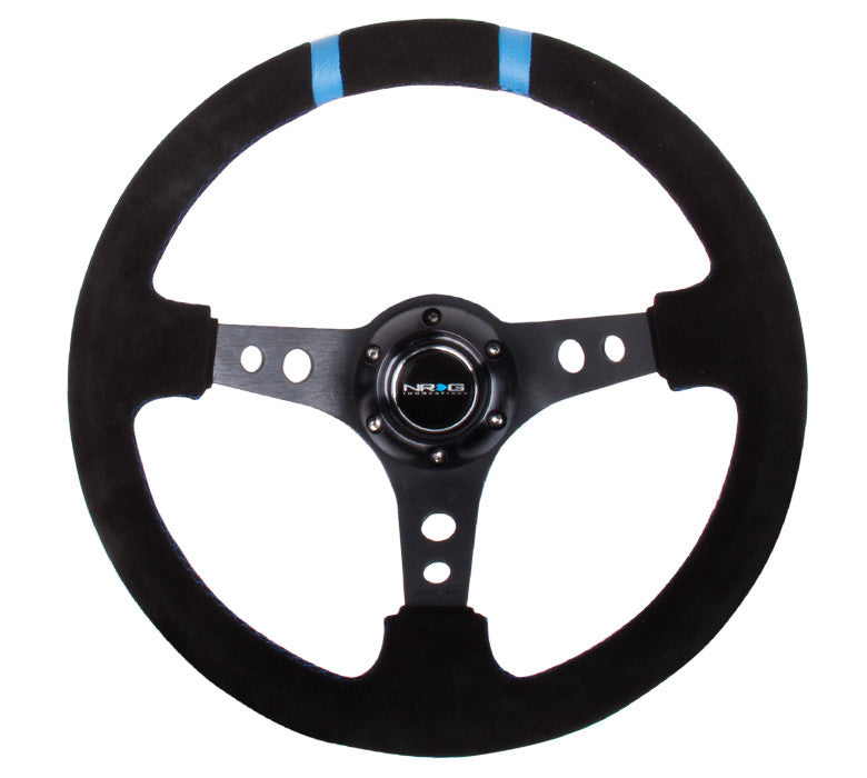 NRG ST-016S-BK: Limited Edition 350mm Sport Suede Steering Wheel Black w/ blue double center markings - Drive NRG