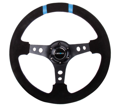 NRG ST-016S-BK: Limited Edition 350mm Sport Suede Steering Wheel Black w/ blue double center markings