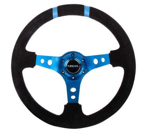 NRG RST-016S-NB: Limited Edition 350mm Sport Suede Steering Wheel Blue w/ blue double center markings