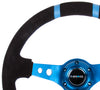 NRG RST-016S-NB: Limited Edition 350mm Sport Suede Steering Wheel Blue w/ blue double center markings - Drive NRG