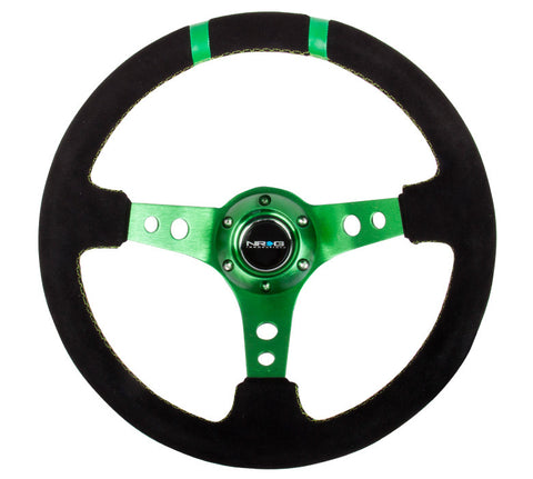 NRG RST-016S-GN: Limited Edition 350mm Sport Suede Steering Wheel Green w/ green double center markings