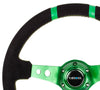 NRG RST-016S-GN: Limited Edition 350mm Sport Suede Steering Wheel Green w/ green double center markings - Drive NRG
