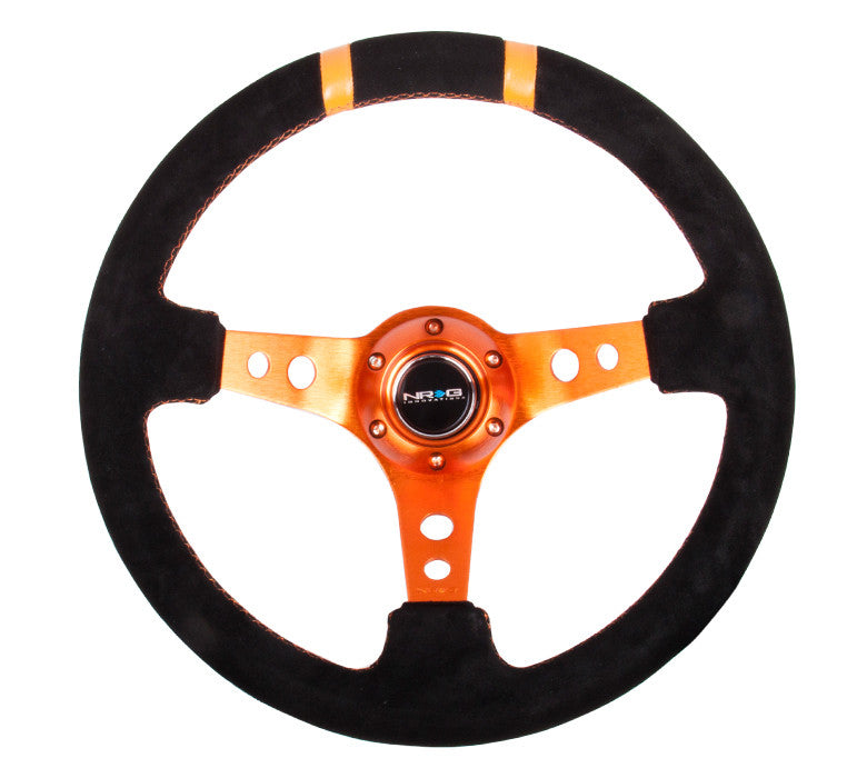 NRG ST-016S-OR: Limited Edition 350mm Sport Suede Steering Wheel Orange w/ orange double center markings