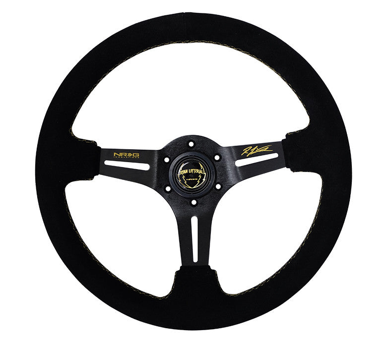 NRG ST-018S-RL: 350mm Suede Deep Dish Ryan Litteral Signature Steering Wheel - Drive NRG