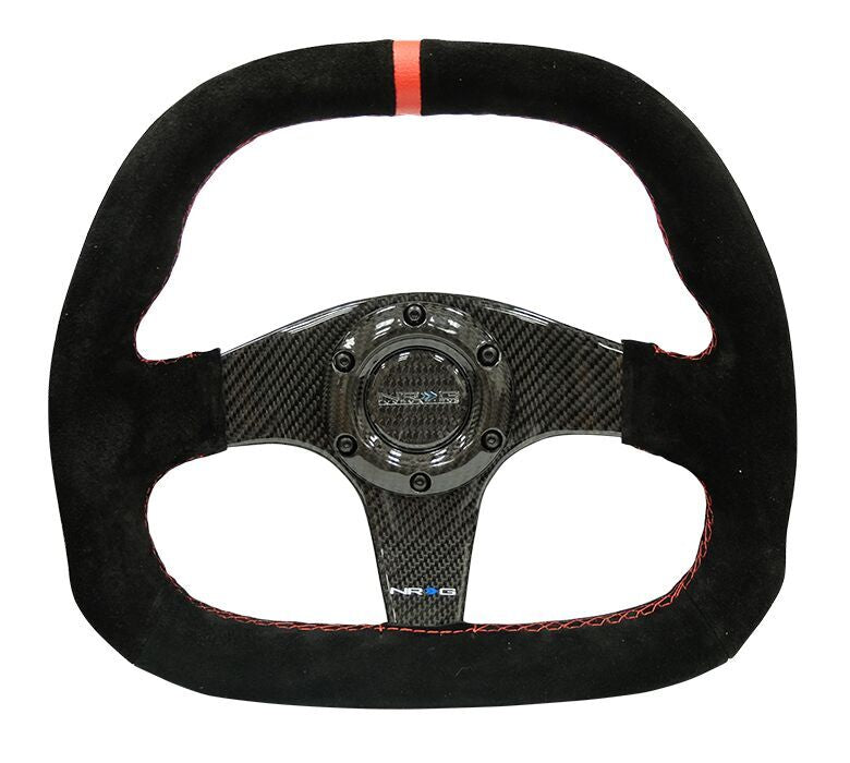 NRG ST-019CF: 320mm Flat Bottom Carbon Fiber Steering Wheel with Red Stitching - Drive NRG