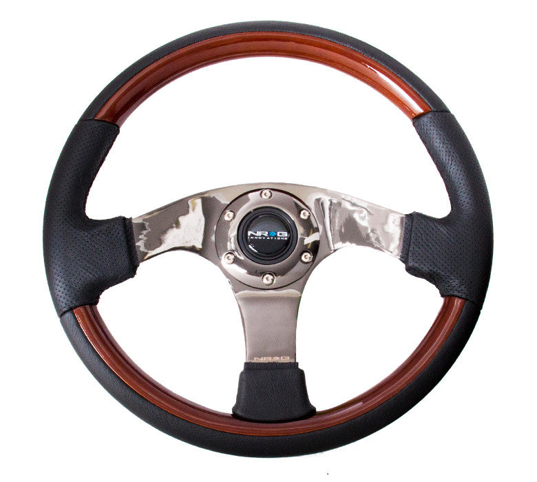 NRG ST-025BK: 350mm Classic Wood Grain Wheel- 3 spoke center in black, Leather wheel with wood accents - Drive NRG
