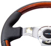 NRG ST-025CH: 350mm Classic Wood Grain Wheel- 3 spoke center in chrome, Leather wheel with wood accents - Drive NRG