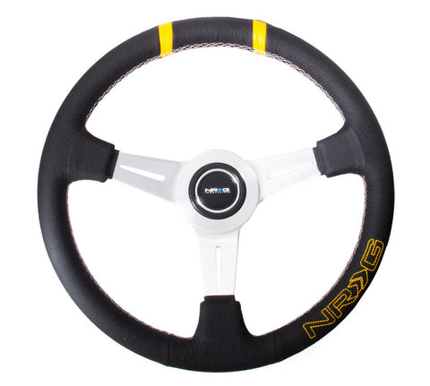 "NRG ST-028BK-Y: 360mm ""Bumble Bee"" Sport Steering wheel- Black leather w/ White stitching. Double yellow Center Marking"