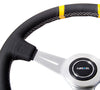 "NRG ST-028BK-Y: 360mm ""Bumble Bee"" Sport Steering wheel- Black leather w/ White stitching. Double yellow Center Marking - Drive NRG"