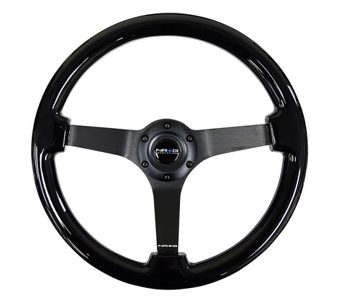 NRG RST-036BK-BK: 350mm Classic Black Wood Grain Wheel Black Deep Dish