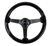 NRG RST-036BK-BK: 350mm Classic Black Wood Grain Wheel Black Deep Dish - Drive NRG
