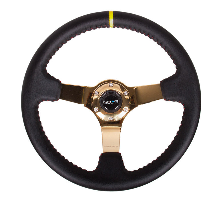 "NRG RST-036CG-Y: 350mm Sport Steering wheel (3"" Deep) - Black Leather, Red Baseball Stitching - Gold Center - Drive NRG"