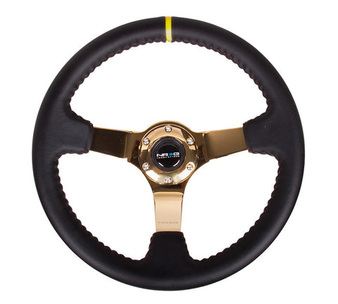 "NRG RST-036CG-Y: 350mm Sport Steering wheel (3"" Deep) - Black Leather, Red Baseball Stitching - Gold Center"