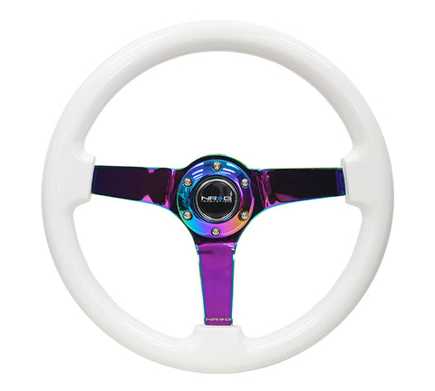 NRG RST-036WT-MC: 350mm Deep Dish White Woodgrain Wheel NeoChrome Center
