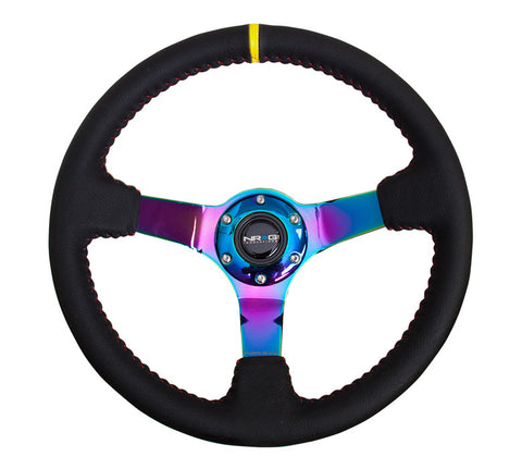 NRG ST-036MC-Y: 350mm Sport Steering Wheel  - Black Leather, Red Baseball Stitch, Neochrome - Yellow stripe