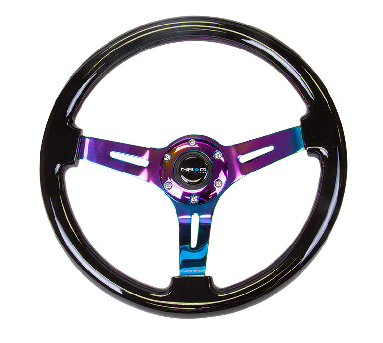 "NRG RST-018BK-MC: 350mm Classic Black Wood Grain Wheel (3"" Deep) Neochrome - Drive NRG"
