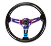 "NRG RST-018BK-MC: 350mm Classic Black Wood Grain Wheel (3"" Deep) Neochrome"