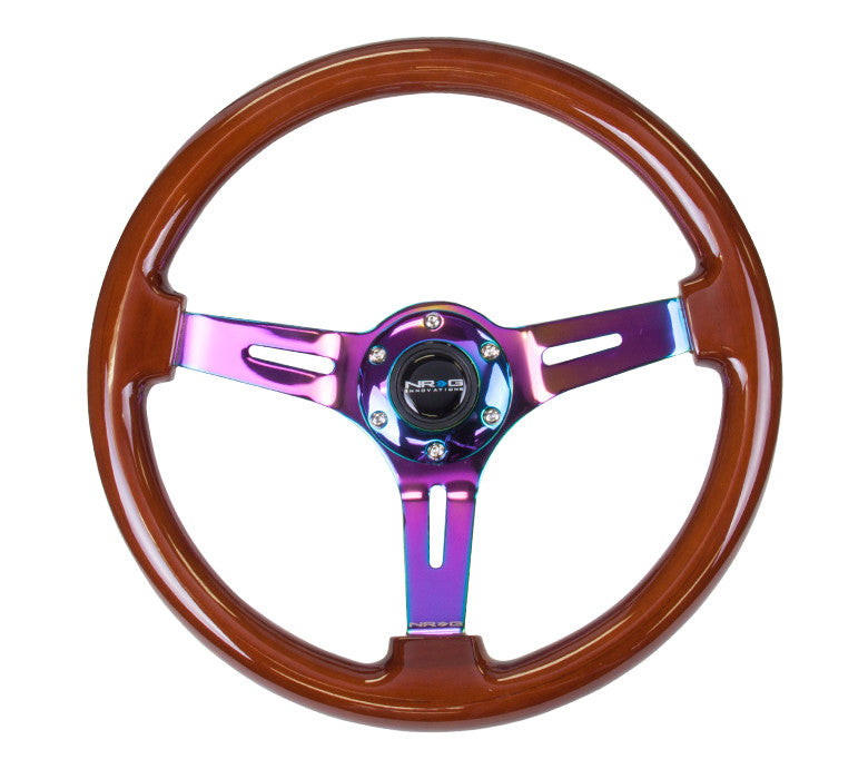 "NRG RST-018BR-MC: 350mm Classic Dark Wood Grain Wheel (3"" Deep) Neochrome - Drive NRG"