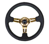 "NRG ST-055R-CGGS: 350mm Black Leather Steering Wheel (3"" Deep) Chrome Gold Spokes Green Stitch - Drive NRG"