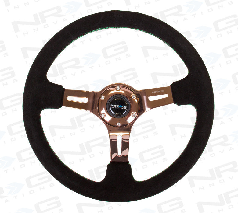 "ST-055S-RGGS Black Suede Steering Wheel (3"" Deep), 350mm, 3 spoke Center in Rose Gold W/ Green Stitch - Drive NRG"