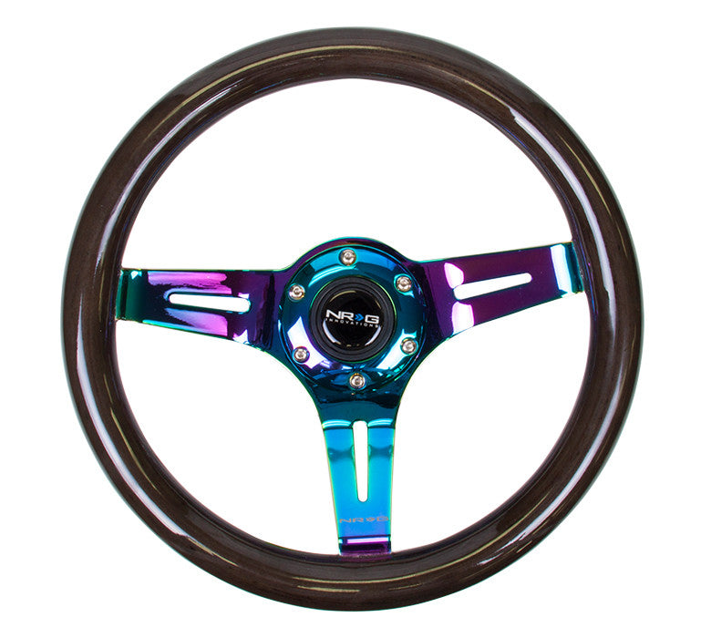NRG ST-310BK-MC: 310mm Classic Black Wood Grain Wheel- 3 spoke center in Neochrome