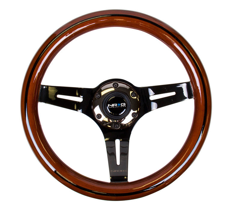 NRG ST-310BRB-BK: 310mm Classic Dark Wood Grain Wheel- Black line inlay with 3 spoke center in Black Chrome
