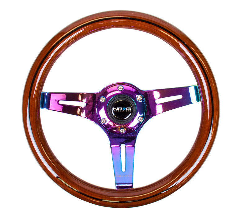 NRG ST-310BRB-MC: 310mm Classic Dark Wood Grain Wheel- Black line inlay with 3 spoke center in Neohrome