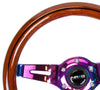 NRG ST-310BRB-MC: 310mm Classic Dark Wood Grain Wheel- Black line inlay with 3 spoke center in Neohrome - Drive NRG