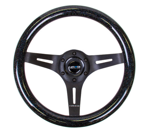 "NRG ST-310BSB-BK: 310mm ""Galaxy Wheel"" Black Sparkled Wood Grain Wheel Black Spokes"