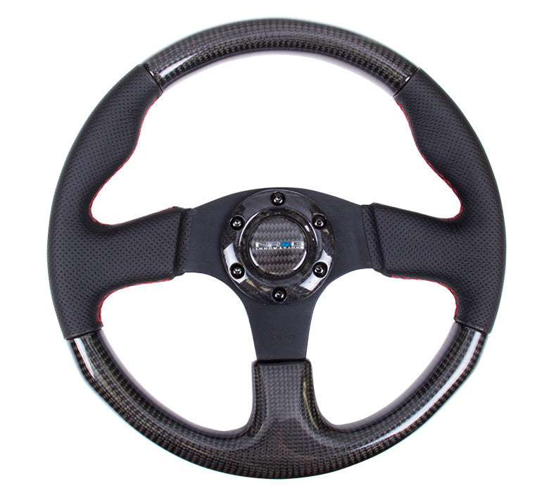 NRG 315mm Carbon Fiber Steering Wheel with Red Stitching ST-310CFRS