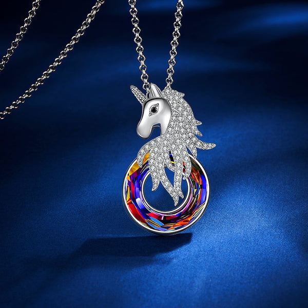 Original Design Unicorn Volcano Crystal Necklace
