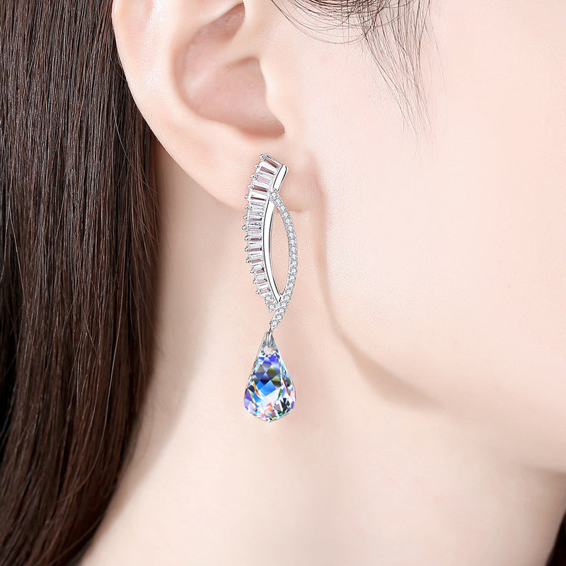 Swarovski element Stone Helix Crystal Dangle Earrings For Women