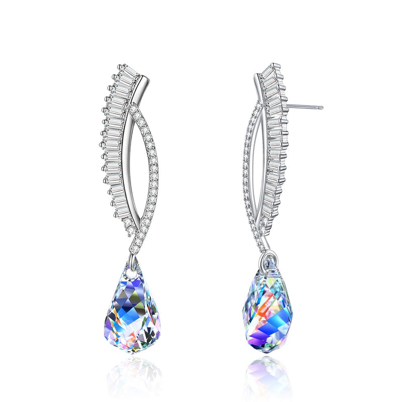 TAANAA Original Design Swarovski element Stone Helix Crystal Dangle Earrings