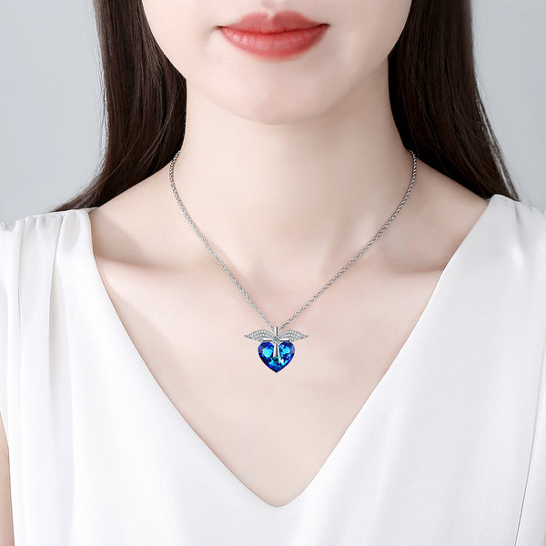 Blue Heart & Wings Necklace
