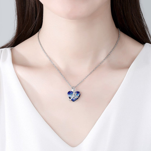 Bermuda Blue Crystal Love Necklace