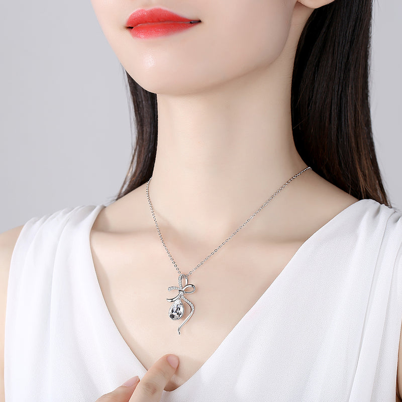 Water Drop Crystal & Sliver Bowknot Necklace