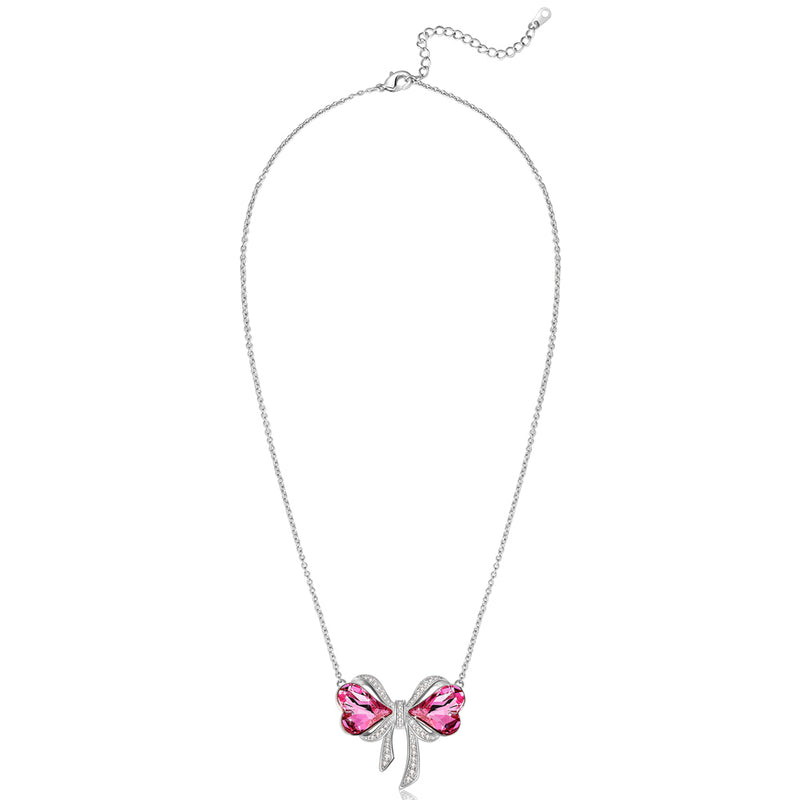 Rose Sweet Heart Crystal Bow Necklace